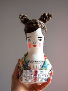 Just found this UK artist when doing a search on a vintage dolly I am going to post. I adore her style, attention to detail, layering of color and technique. Such a cool find!  Folk doll soft sculpture hand painted by JessQuinnSmallArt on Etsy, £43.00
