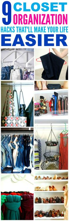 9 Closet Organization Hacks That Are Brilliantly Easy These 9 closet organization hacks are THE BEST! I'm so happy I found these AMAZING tips! Now I know how to get more space for my small closet and small apartment! Organisation Hacks, Wardrobe Organisation, Diy Organization, Organizing Tips, Storage Hacks, Small Apartment Closet, Apartment Closet Organization, Apartment Bedrooms, Closet Storage