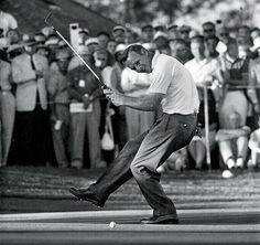 Arnold Palmer. In this photo, the legendary golfer celebrates after putting during the 1960 U.S. Open.