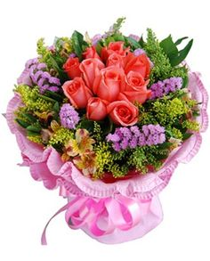 11 pink roses, match solidago canadensis, don't-forget-me and narcissus lily. Multi-layer pink crepe paper round package.