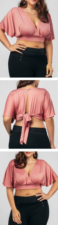 SIZES XL-5XL Deep v-neck open back with tie crop top. Sexy curvy fit cropped blouse with plunging neckline. cute for semi formal occasion or dinner date. Curvy girl fashion, plus size clothing, LBD party outfit, work outfits women, edgy fashion, bold fa #BlousesForWomenDateNights #plussizecroptopoutfits #plussizefashionforwomencurvygirls #plussizepartyoutfits