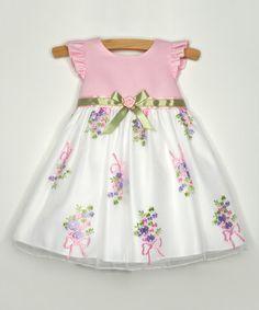 Loving this Pink Floral Garland Angel-Sleeve Dress - Infant on #zulily! #zulilyfinds