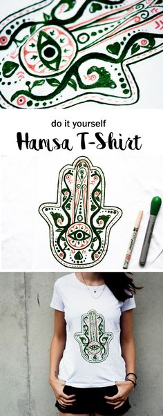 DIY Hamsa Hand der Fatima T-Shirt | Mode fashion ideas | Shirt Oberteil print | Stoff bemalen | tshirt printing | Mode | schere leim papier |