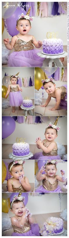 Purples and sparkles all over from the dress to the cake to the banner for this 1 year old girl's unicorn cake smash Creative baby photography by Anna Myers, San Francisco Bay Area photographer #AnnaMyersPhoto #babyphotography