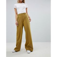 ASOS DESIGN wide leg pants with pleat detail (€32) ❤ liked on Polyvore featuring pants, high waisted pants, tall wide leg pants, high waisted wide leg trousers, high-waisted pants and petite pants