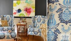 Love the fabric in wingback chairs! Shelton Interior Design