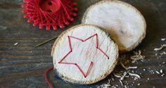 Baumscheibe Fadengrafik - Weihnachtsbaumanhänger selber basteln Hobbies For Kids, Hobbies And Crafts, Tree Pendant, Coconut, Christmas Tree, Fruit, Advent, Kindergarten, Workshop