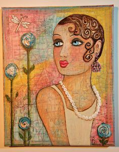 Miss Lola Deco Diva Original Mixed Media art