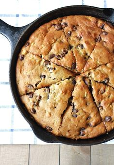 Whole grain chocolate chip banana yogurt skillet cake