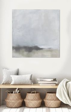 Abstract Landscape, Landscape Paintings, Abstract Art, Landscape Edging, Art Gris, Art Encadrée, Grand Art Mural, Grey Art, Coastal Wall Art
