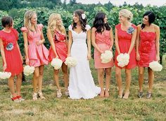 the most gorgeous group of bridesmaids ive ever seen! love the colors and the mismatching dresses! each girls looks so comfortable!!
