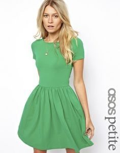 Enlarge ASOS PETITE Slash Neck Skater Dress with Short Sleeve Cute spring look, would love a chunky necklace to go with it
