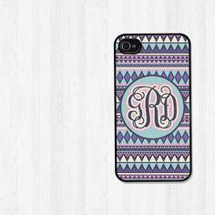 Personalized iPhone Case, iPhone 4, iPhone 5, Samsung Galaxy S3, Aztec Tribal Blue and Purple Monogram, iPhone Cover, Graduation Gift (174)
