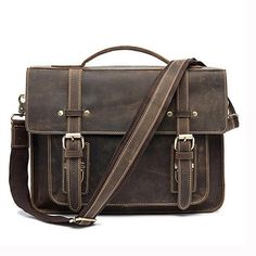 413f4977d01e Genuine Leather Double Belt Briefcase Business Briefcase