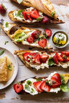Marinated Goat Cheese Strawberry Crostini | halfbakedharvest.com Grilled Steak Salad, Grilled Bread, Easy Dinner Recipes, Summer Recipes, Easy Meals, Bloody Mary, Ricotta, Crostini, Bruschetta