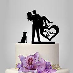 Wedding Cake Topper Silhouette, Bride and Groom with Dog and Heart Cake Decor Weddingdecor http://www.amazon.com/dp/B00Y2RLWSG/ref=cm_sw_r_pi_dp_NNK1vb0R3X4S0