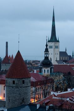 Spires and towers of the old town in Tallinn, Estonia Around The World In 80 Days, Places Around The World, Around The Worlds, Travel Sights, Places To Travel, Places To Go, Baltic Cruise, Central And Eastern Europe, Famous Castles