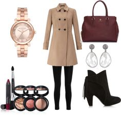 Fall Outfit Idea 2016 Polyvore.Great for Moms,Schools,Teens,Hipster,Women,This outfit can be worn casually or in parties.Miss Selfridge camel coat-Balmain high rise legging-Wide width booties-Dog tote-Michael Kors stainless steel bracelet watch-Bezel set earrings