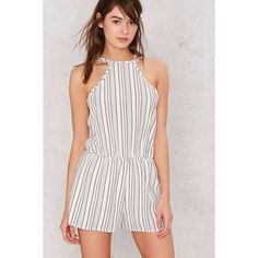 9cf79d2989 Hands Down Striped Romper (270 HRK) ❤ liked on Polyvore featuring  jumpsuits