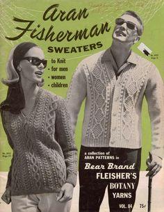 Bear Brand Aran Fisherman Sweaters Knitting Patterns Cardigan Dress Jacket 1964 #BearBrandFleisherBotany #KnittingPatterns