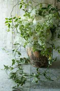 organic greenery arrangement with delicate white blooms Deco Floral, Arte Floral, Floral Style, Fresh Flowers, White Flowers, Beautiful Flowers, Raindrops And Roses, Flower Farm, Green Plants