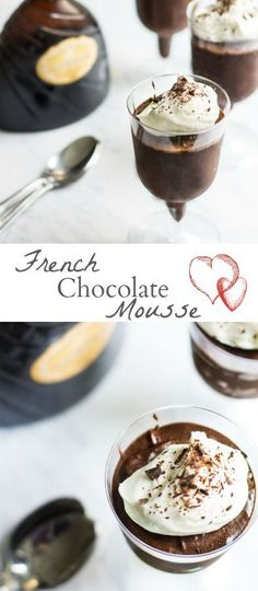 French Chocolate Mousse: Only 2 Ingredients! - Mon Petit Four French Dessert Recipes, Best Dessert Recipes, Easy Desserts, Sweet Recipes, Individual Desserts, Gourmet Desserts, Plated Desserts, Delicious Recipes, Dessert Simple