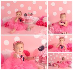 Minnie Mouse birthday cake smash in Virginia Beach photography studio | Kimberlin_Gray_Photography