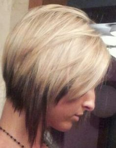 Creative graduated bob hair cut and partial highlight