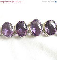 CIJ SALE Vintage Purple Amethyst Cut Glass Rhinestones Sterling Silver 925 Link Bracelet by MyVintageJewels, $36.75