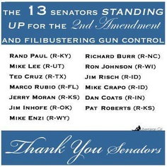 12 GOP senators back Rand Paul on gun-control filibuster    Read more: http://www.politico.com/story/2013/04/rand-paul-gun-control-filibuster-89694.html#ixzz2Pp1O2SR2