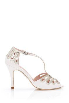Suede and metallic leather heel: http://www.stylemepretty.com/lookbook/designer/emmy-london/ #SMPLookBook