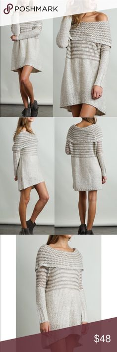 🆕DARBY off shoulder knit dress - CREAM Long sleeve off shoulder dress that can also be worn on shoulder. Super soft & comfy.    Model is 5'10 wearing size S.   🚨NO TRADE, PRICE FIRM🚨 Bellanblue Dresses Long Sleeve