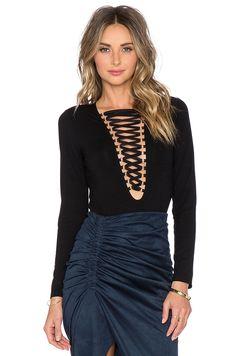 Bardot Tie Front Bodysuit in Black | REVOLVE