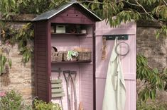 I'd better not show Tom this - he spends enough time in the orchard as it is! Potting shed in pretty Cuprinol Garden Shades Summer Damson and Sweet Pea Shed Storage, Small Storage, Tool Storage, Small Garden Storage Ideas, Outdoor Storage Sheds, Diy Storage, Garden Projects, Garden Tools, Garden Sheds