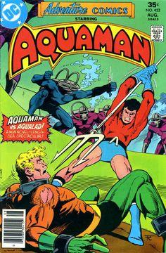 Adventure Comics vol 1 cover by Jim Aparo (Aquaman, Aqualad, Black Manta) Comic Book Girl, Dc Comic Books, Comic Book Artists, Comic Book Covers, Comic Book Characters, Comic Book Heroes, Comic Art, Dc Heroes, Comic Character