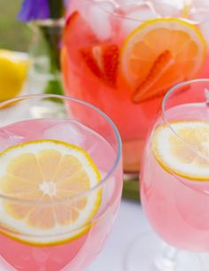 Pink Moscato Strawberry Lemonade - Sweet and sassy, Moscato wines are easy to embrace. This fresh Moscato mixer is a simple take on a spritzy summer lemonade.