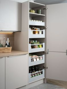 Blum Antaro 5 Drawer Set for tall kitchen larder units. Space Tower offers great kitchen storage alternative to pull out larder. Kitchen Drawer Units, Kitchen Pantry Design, Kitchen Pantry Cabinets, Kitchen Tops, Modern Kitchen Design, Home Decor Kitchen, Interior Design Kitchen, Diy Kitchen, Ikea Kitchen Storage