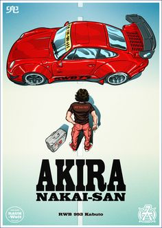 I created a graphic style poster from the movie anime Akira. This time the main role instead of Kaneda is Nakai-San, and Kaneda's motorcycle - replaced RWB Porsche 993 Kabuto from RAUH-Welt Begriff Warsaw. Akira Poster, Dm Poster, Car Posters, Comics Anime, Automobile, Rauh Welt, Ferdinand Porsche, Car Illustration, Illustrations