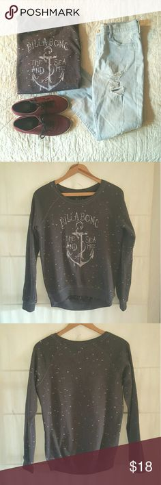 """Billabong Anchor """"the sea and me"""" Sweatshirt Grey sweatshirt/long sleeve with anchor """"the sea and me"""" graphic - excellent condition (no holes, stains, or tears). Billabong Tops Sweatshirts & Hoodies"""