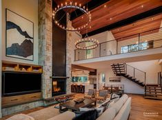 Tour a delightful Northern California mountain home with farmhouse flavor California Mountains, California Homes, Northern California, Floating Staircase, New House Plans, Cottage Design, Indoor Outdoor Living, Fireplace Design, Modern Spaces