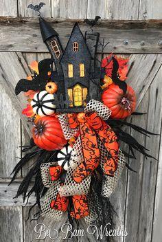 Haunted House, Halloween Wreath, Halloween Decor by Ba Bam Wreaths