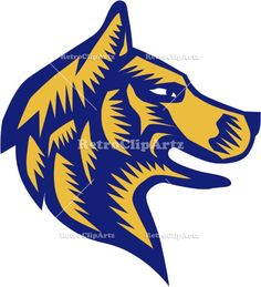 Husky Dog Head Woodcut Vector Stock Illustration  Illustration of a husky alaskan malamute wild dog wolf head profile viewed from the side set on isolated white background done in retro woodcut style. #illustration #HuskyDogHead