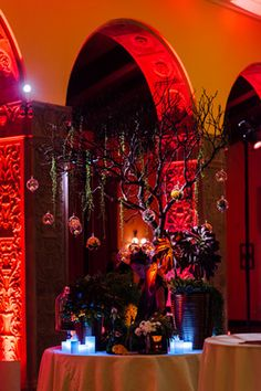 An eight-foot-tall manzanita tree with hanging orbs filled with candles, flowers, and succulents Manzanita Tree, Wine Festival, Green Rooms, Fresh Flowers, A Table, Thursday, Theatre, Succulents, Foundation
