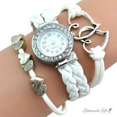 Damen Armbanduhr Herzen mit Strass Kunstleder weiß