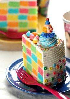 Colourful brick cake!