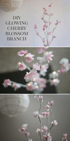How To Make A Diy Glowing Cherry Blossom Branch Centerpiece Diy Glowing Cherry Blossom Branch Tutorial For Wedding Home Or Nursery Decor Shrimp Salad Circus Blossom Tree Wedding, Cherry Blossom Party, Cherry Blossom Flowers, Blossom Trees, Cherry Blossom Origami, Cherry Blossom Centerpiece, Cherry Blossom Nursery, Paper Flowers Wedding, Diy Flowers