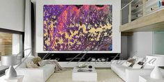Large Wall Art, Purple Abstract Painting, Print, Acrylic Abstract Art, Huge Wall Art, Canvas Print, Fuchsia Painting, Purple Home Decor by juliaapostolova. Explore more products on http://juliaapostolova.etsy.com