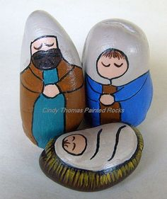 Painted Rock Nativity Set | Unique nativity scene figures ha… | Flickr