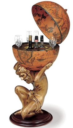 bar globe with atlas