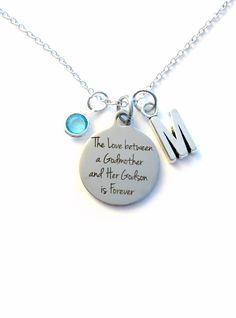 The Love Between A Godmother And Godson Necklace Gift For God Mother Jewelry Baptism Present Birthstone Initial Her From Son Chain Silver By